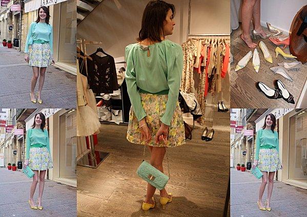 Turquoise & jupe brocart pour fêter le retour du soleil !
