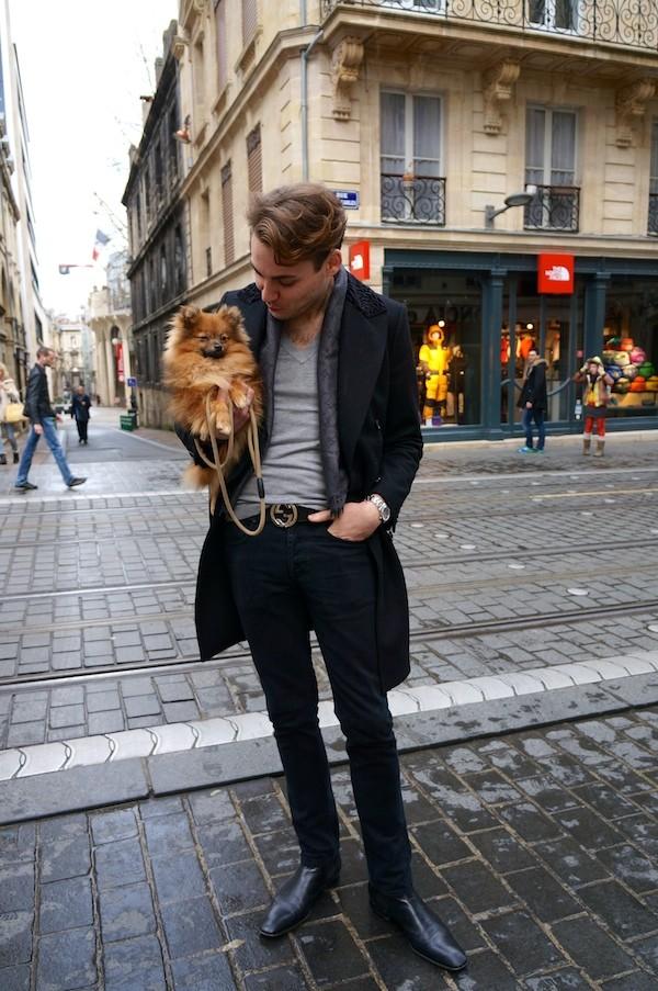 manteau Zara, jeans Sandro
