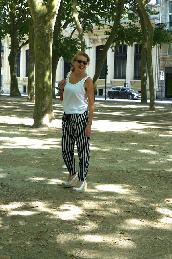 Pantalon rayures large Zara