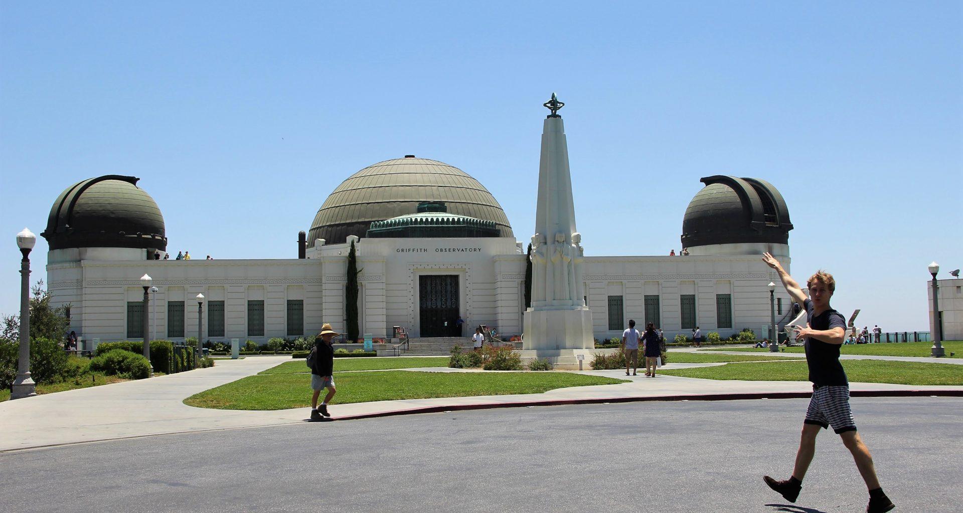 Arthur au Griffith Observatory à Los Angeles